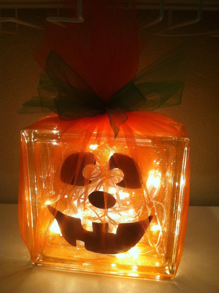 Glass block Jack-o-lantern Halloween Decoration Craft