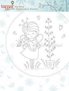 Embroidery Pattern Instant Download Shy Fairy von TamarNahirYanai