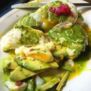 """Avocado Del Sur"" with Flatbread and Poached Eggs at El Rey 