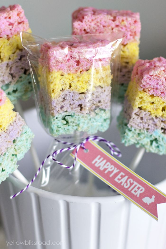 Layered Peeps Crispy Treats are Rice Krispie Treats with a twist - they're made with Peeps and layered for a colorful Easter treat!
