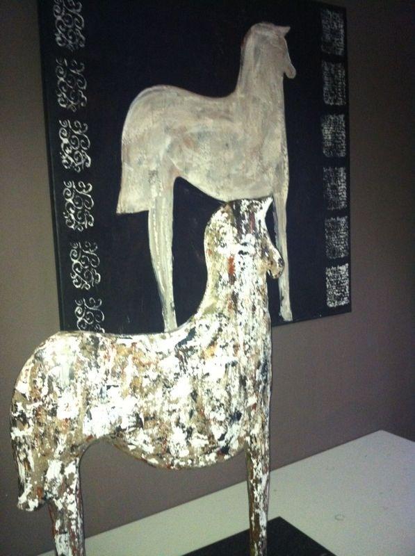 keramiek paard en bijhorend schilderij