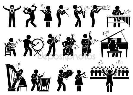 Λήψη - Μουσικοί Συμφωνική ορχήστρα με μουσικά όργανα ανθρωπάκι εικονόγραμμα εικονίδια — Αρχείο Εικονογράφησης #103654222