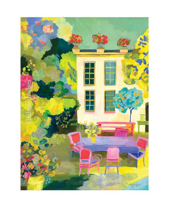 Provence Summer Giclee Paper or Canvas print by Kimberly Hodges, spring, provence style, french cottage, garden print