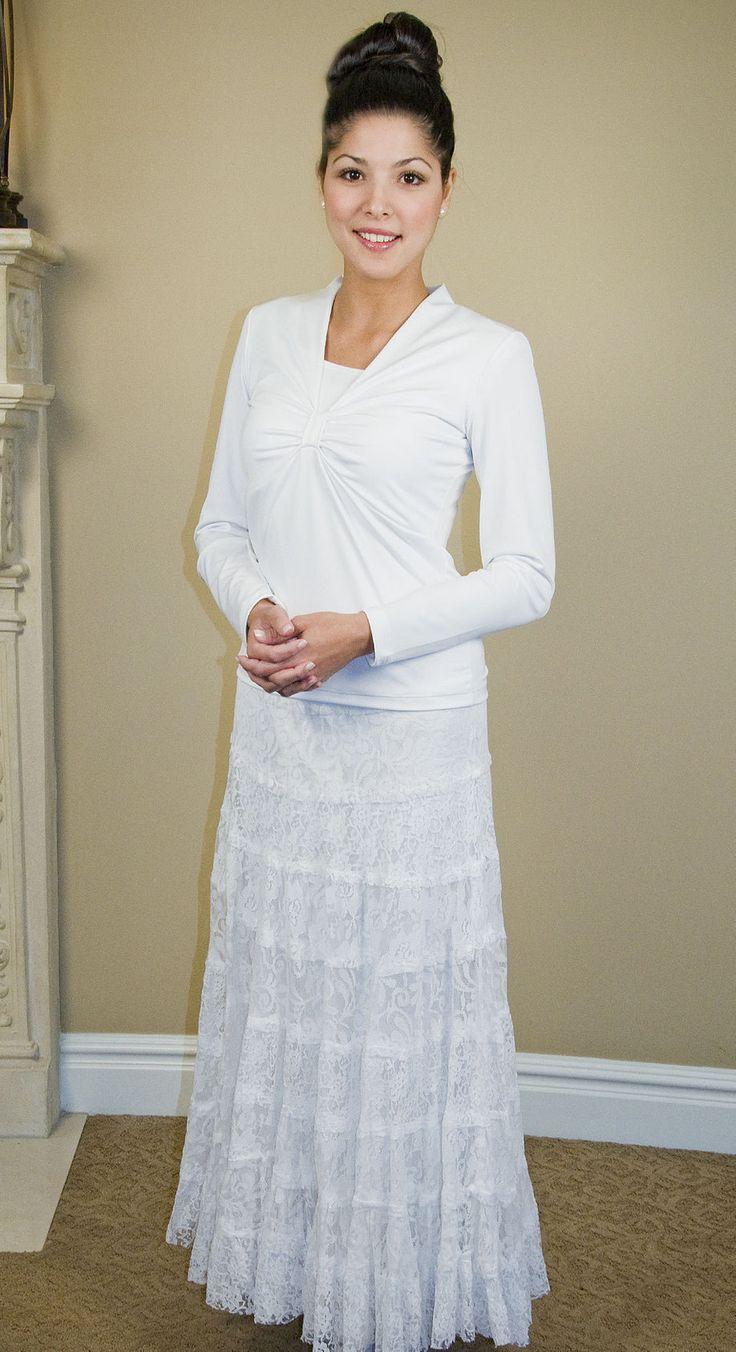10967 lace skirt gimme stuff pinterest lds temple for Lds wedding dresses lace