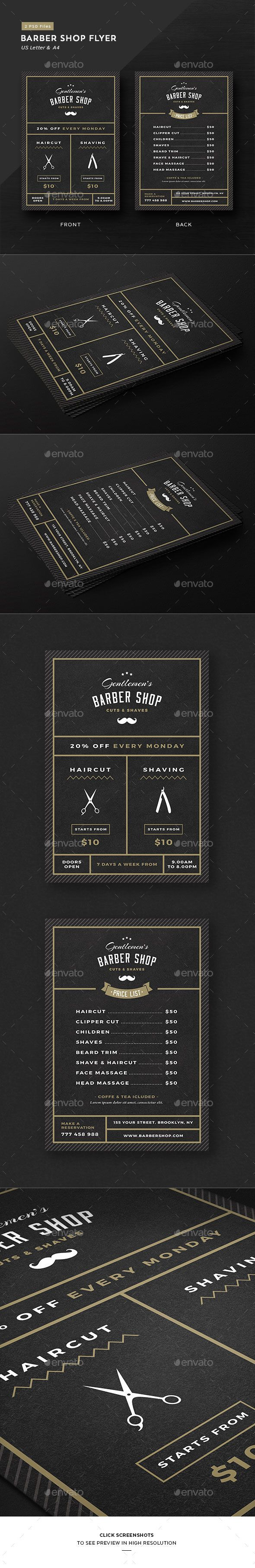 Barbershop Flyer  — PSD Template #price list • Only available here ➝…