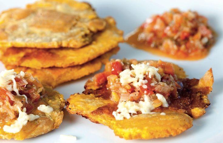 Patacones con hogao y queso « Cocinarte