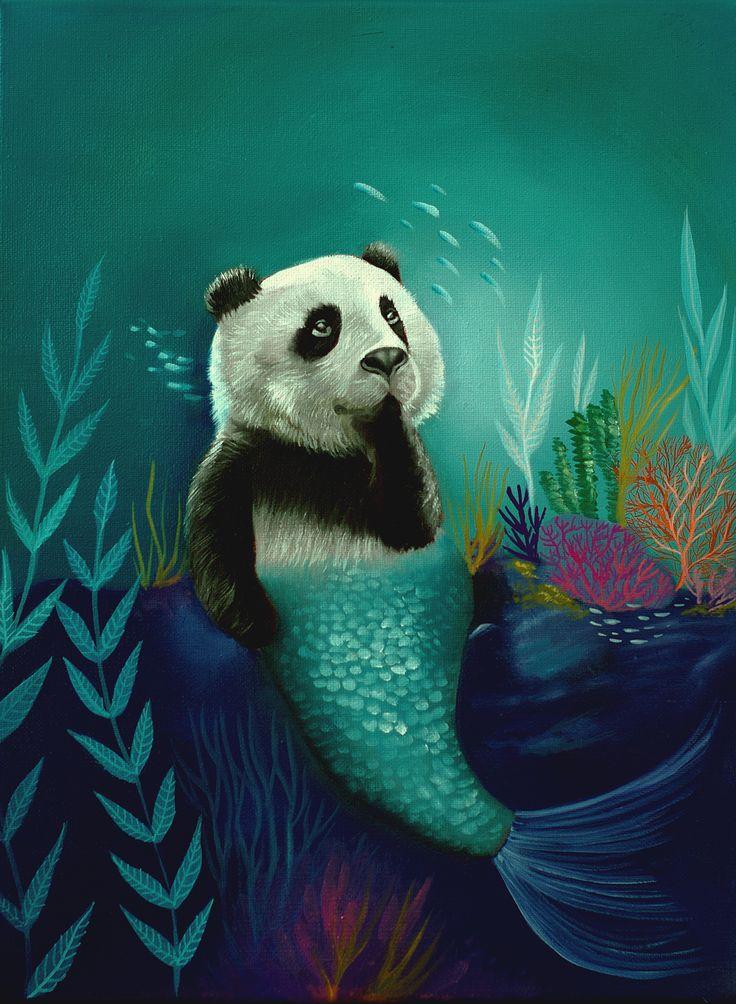 Sea panda, oilpainting, www.zuzanadolinay.com