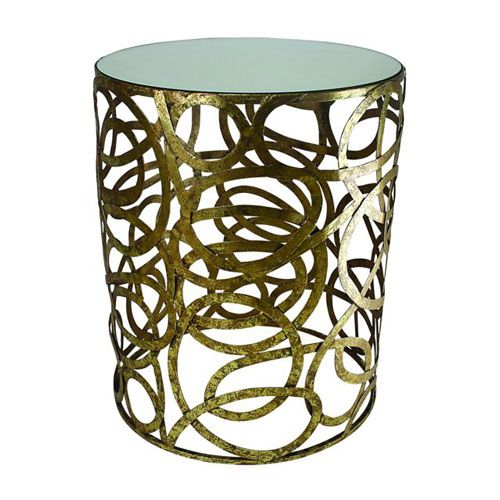 Dr Livingstone I Presume Furniture ... Gold Multi Scroll Round Side Table With Mirror Top Dr Livingstone I