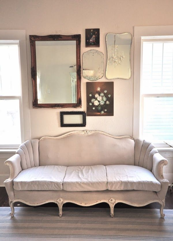 Vintage mirror gallery wall and house tour of Vintage Whites eclecticallyvintage.com