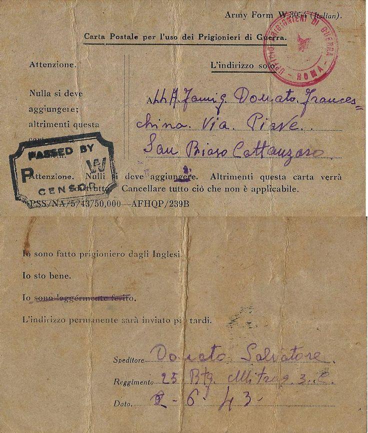 PRIGIONIERI POW CAMP INGLESE NOTIZA CATTURA 1943 x SAMBIASE CROCE ROSSA | eBay