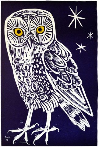 """Limited edition """"Owl"""" linocut by Mark Hearld via St. Jude's Prints: http://www.stjudesprints.co.uk/collections/mark-hearld/products/owl-2#"""