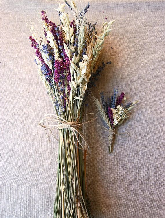 Rustic Boho Natural Wedding Bouquet for Bridesmaids of Lavender Ivory Larkspur and Pink/Purple Kiss Me Over the Garden Gate and Oats Green Wheat wrapped with natural Hemp Twine I have a limited stock of the Magenta/Violet Kiss Me Flowers--until late Summer when they are harvested