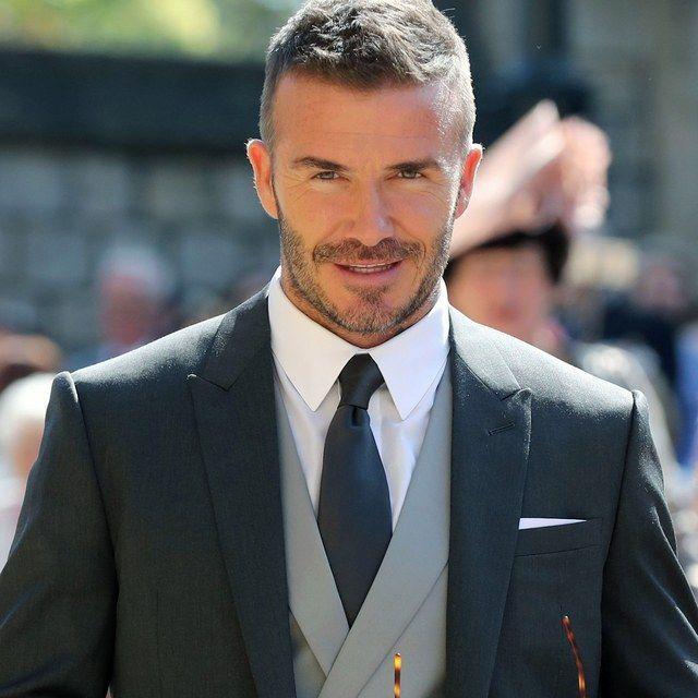 David Beckham Attended The Royal Wedding Wearing Kim Jones S First Dior Homme Designs Gq Beckham Hair Beckham Haircut David Beckham Hairstyle