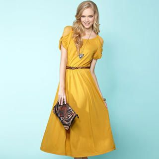 Mesh-Shoulder+Bow-Cuff+Long+Dress
