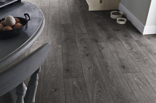 Howdens Professional Fast Fit V Groove Dark Grey Oak Flooring