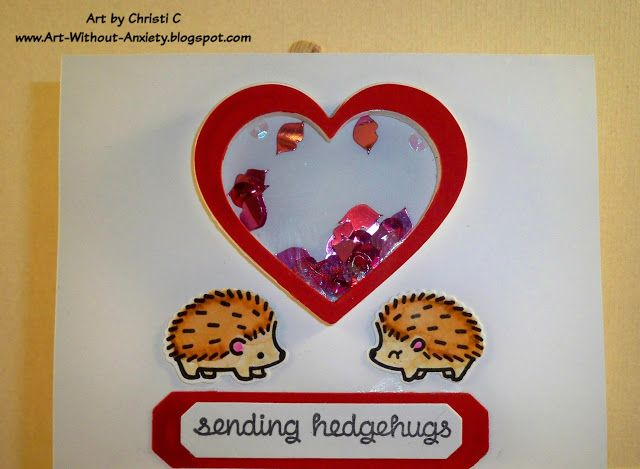 #LawnFawn HedgeHugs ~ shaker card
