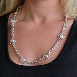 Stunning South sea pearl and sterling silver neckchain