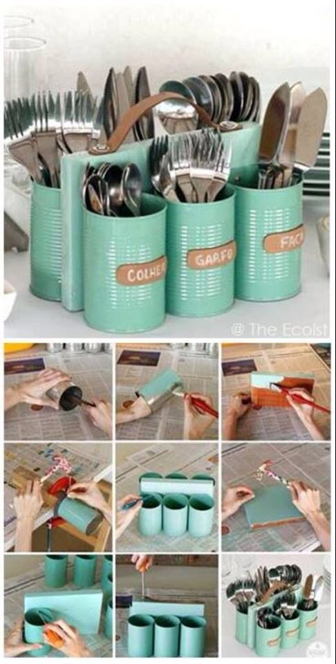 Recycled aluminum can caddy. Thinking this would make a nifty pencil and pen holder