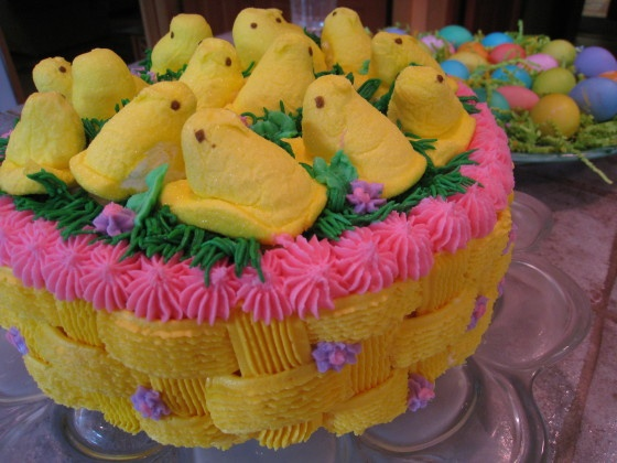 cute easter cake.  I'd make it a carrot cake and use less peeps.  Or maybe chick cake pops.