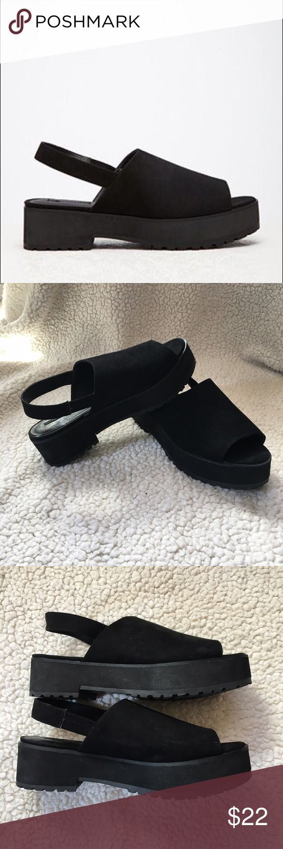 "Forever 21 Faux Suede Slingbacks Black Shoes are in excellent condition. Only worn twice. Insides have a patch missing from a sticker that had super kung fu grip. It took a little piece off. Otherwise in great condition. Size 7. 1.5"" rise Forever 21 Shoes Sandals"