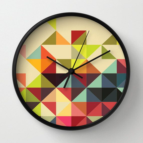 Triangles Wall clock Multicolor Triangles Wall Clock by adidit, $59.00