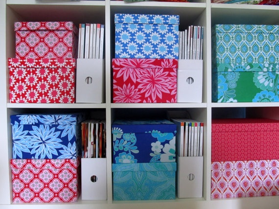Fabric covered boxes storage ikea expedit organize for Fabric drawers ikea expedit