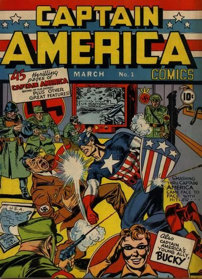 Captain America Comics #1, March 1941. Published by Timely Comics, art by Jack Kirby & Joe Simon.