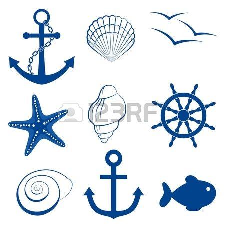 Sea icon set anchor, shell, bird, starfish, wheel