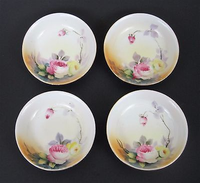 Nippon China Pink Yellow Floral Dessert Bowls Gold Rim Early Maple Leaf Set 4