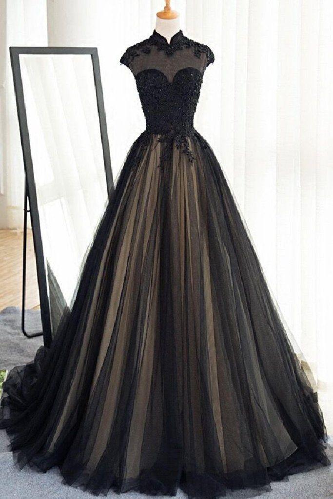 Black tulle cap sleeves floor-length long prom dresses,luxury dresses
