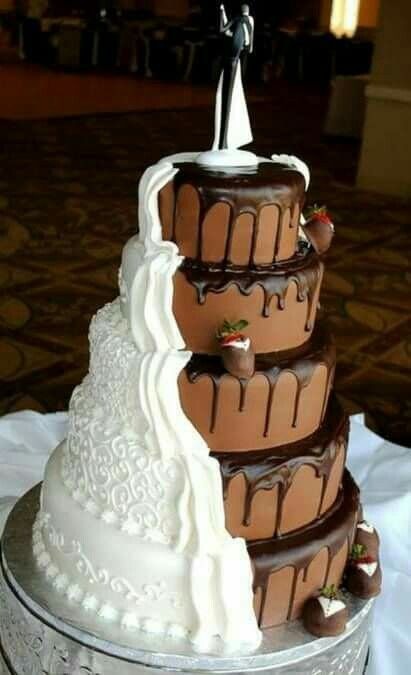 Chocolate peel away wedding cake