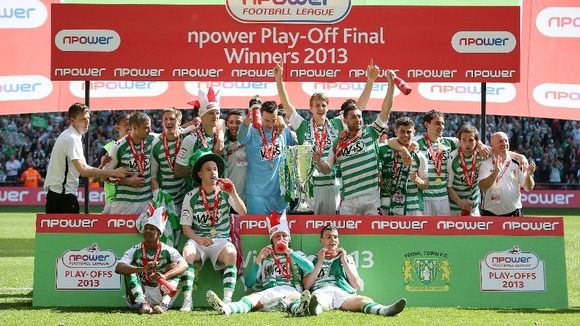 Yeovil Town FC celebrating promotion to the Championship League in 2013. #Celebration #promotion #football #ytfc