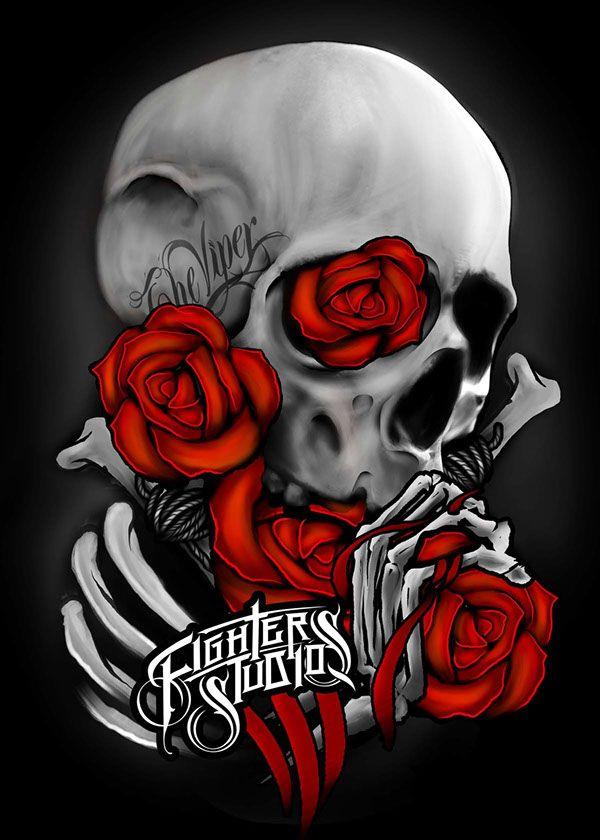 Skull and roses by danu setyaji via behance
