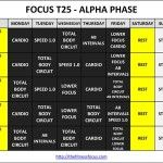 Download or Print the Focus T25 Workout Calendars