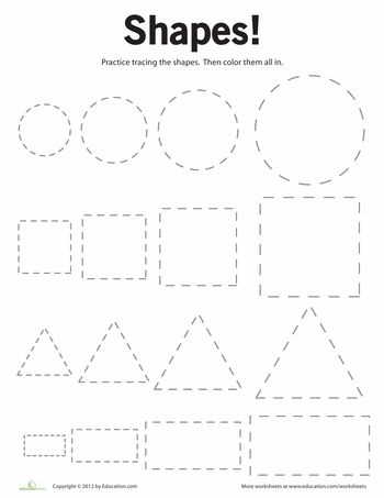 Worksheets: Tracing Basic Shapes. Gonna use watercolor & qtips for Sean.