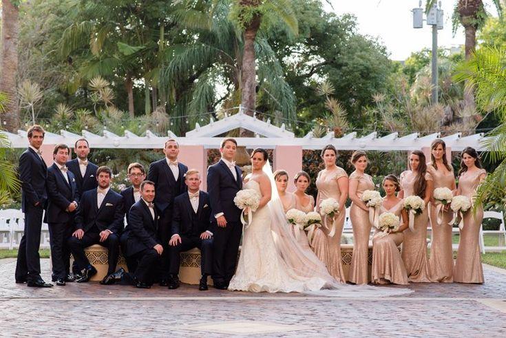 Classically elegant wedding party attire: gold bridesmaid dresses  | Caroline & Evan Photography