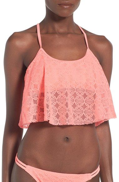 Gossip Girl 'Medallion Crochet' Flounce Bikini Top