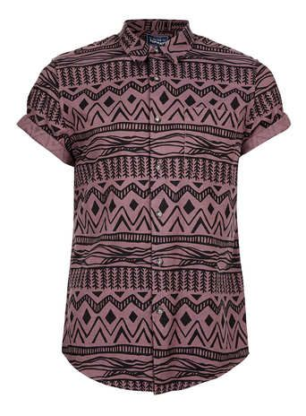 Burgundy Black Aztec Print Short Sleeve Shirt - Mens Shirts  - Clothing