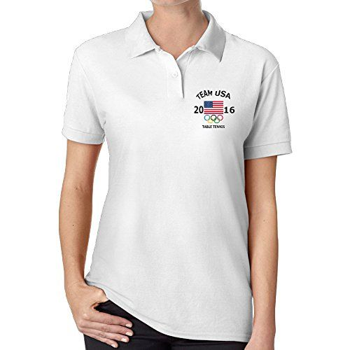 Ouidtk Womens 2016 Rio Olympic Team USA Logo Table Tennis Polo Shirt * Want additional info? Click on the image.(This is an Amazon affiliate link and I receive a commission for the sales)