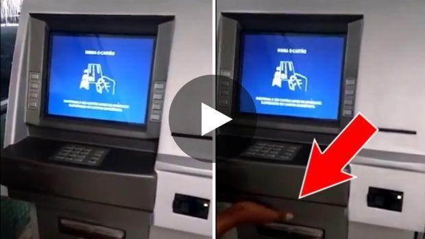 Un escroc a fabriqué la réplique exacte d'une devanture de distributeur automatique de billets afin de la superposer...