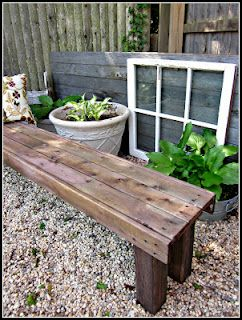 Make your own bench out of scraps, she used vinegar and steel wool to age the pallet wood