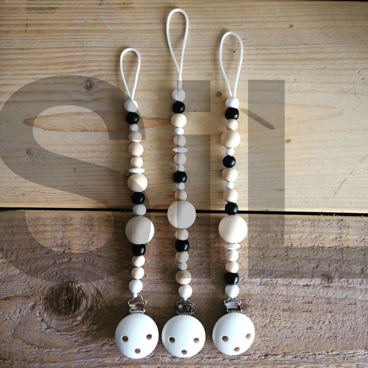 Speen ketting speenkoord kralen wood houten kralen zwart wit hout black & white