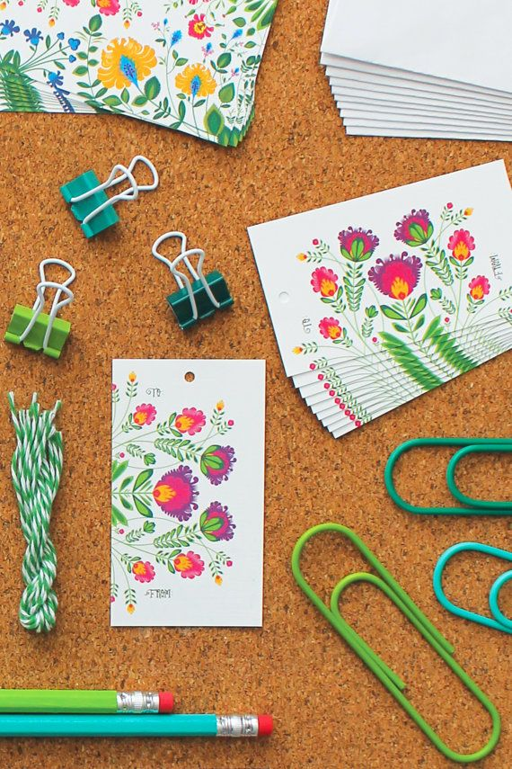 Fantastic 'Botanical Burst' Gift Tags by StationeryBike on Etsy