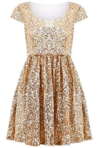 Romwe Cap Sleeve Gold Sequin Skater Cocktail Dress