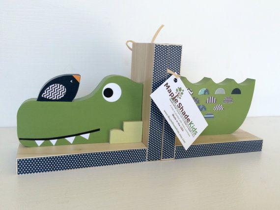 Alligator Bookends, Alligator Nursery,  Alligator Kids decor, Jungle Decor, eco-friendly on Etsy, $69.00