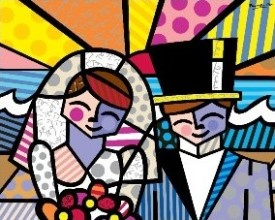 HONEYMOON AT SEA embellished giclée on canvas by Romero Britto (unframed) $480
