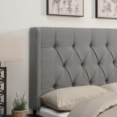 Alcott Hill Gardenhire Upholstered Wingback Headboard Size: Queen, Upholstery: Ash