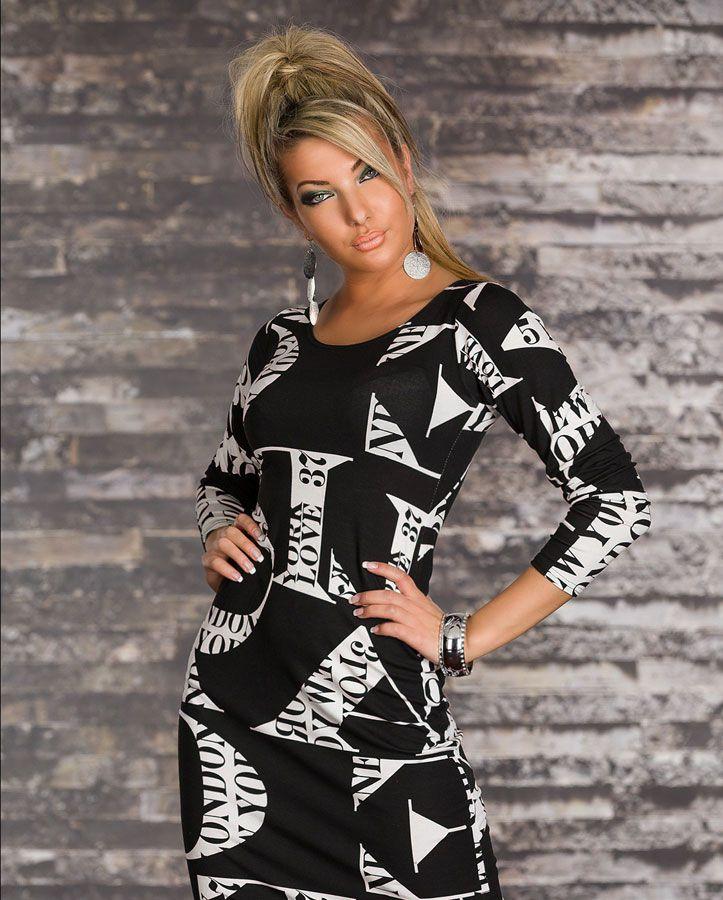 robe femme mi longue manches longues noir et blanc avec motifs en viscose par uncadeauunsourire. Black Bedroom Furniture Sets. Home Design Ideas