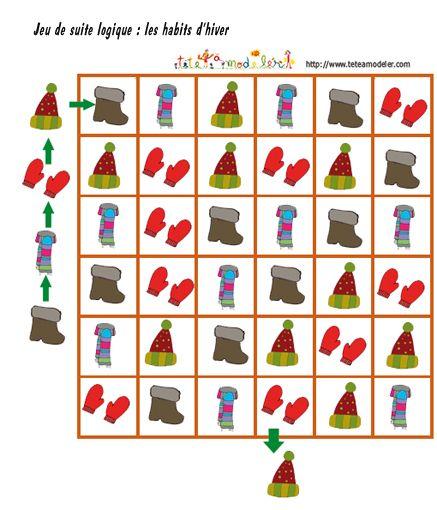 Jeu pour enfant à imprimer : suite logique sur l'hiver : les habits d'hiver - Tête à modeler