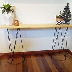 Plant stands sprayed black and used as hall table. Kmart Australia style. Kmart hacks.Seen on FB